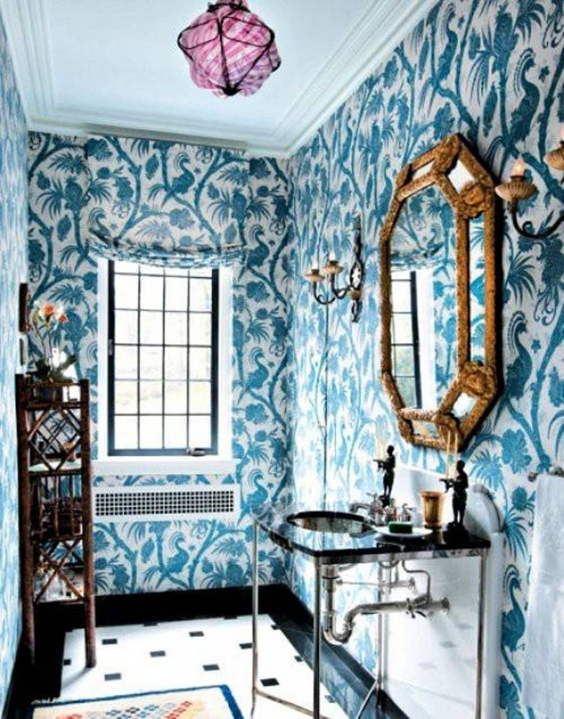 bathroom-wall-art-blue-wallpaper-with-matching-window-blind-and-ornate-mirror